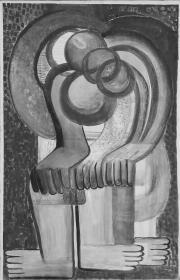 """Teresa Żarnower, """"Expectation"""", 1946, gwasz na papierze, Kolekcja Elizabeth Sobczynski, Londyn."""